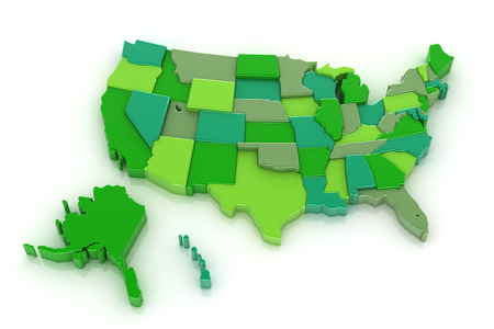 3D map of USA with Alaska and Hawaii. Isolated on white background photo