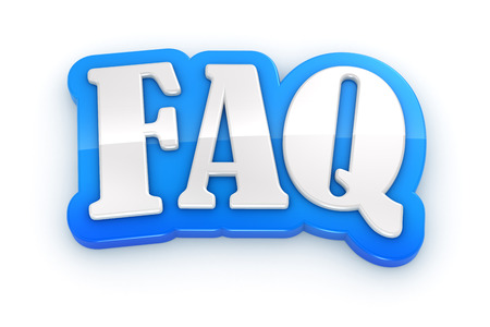 frequently: FAQ 3D word on white background with clipping path