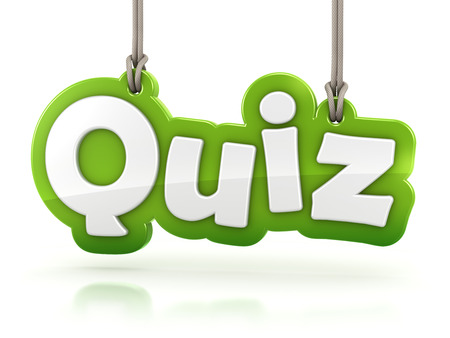 game play: Quiz green word text on white background with clipping path