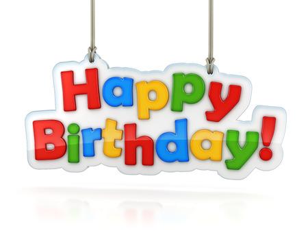 auguri di compleanno: Buon Compleanno parola multicolore appeso, isolato su bianco con percorso di clipping