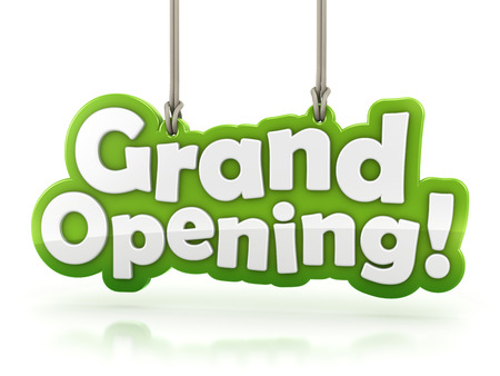 Grand Opening text isolated on white background with clipping path