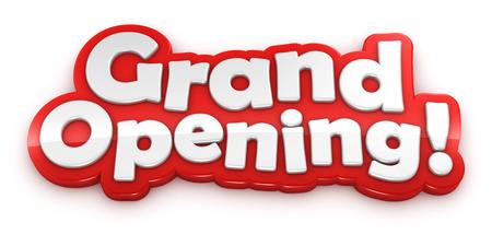 feier: Grand Opening Text-Banner auf weißem Hintergrund mit Beschneidungspfad