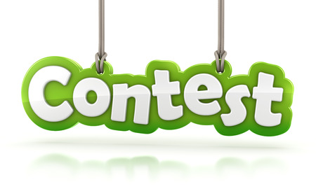 Contest green word text hanging on white background with clipping path Imagens