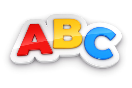 Colorful letters ABC on white background photo