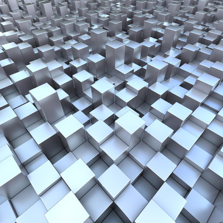 Modern background 3D blueish cubes photo