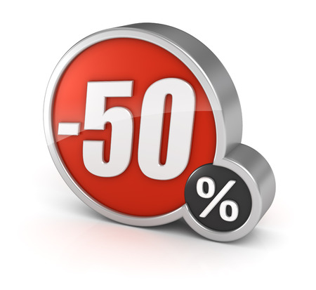 number 50: 50% sale 3d icon.