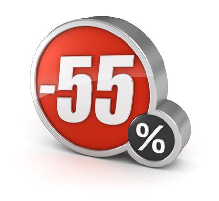 55% sale, 3d icon.  photo