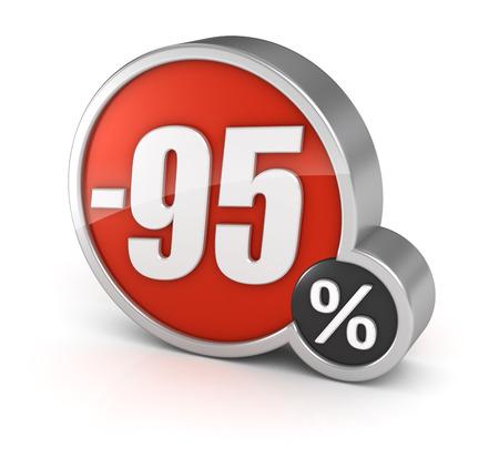 95: 95% la vendita, 3d icona isolato su sfondo bianco.