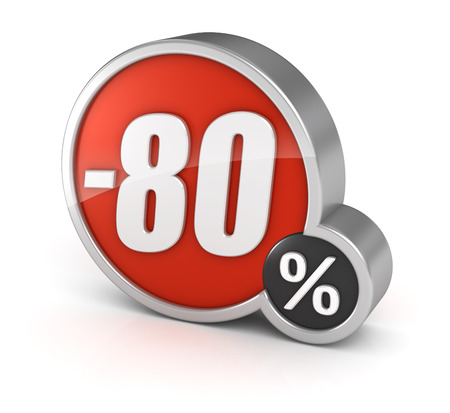 cut off: 80% sale, 3d icon Isolated on white background.  Stock Photo