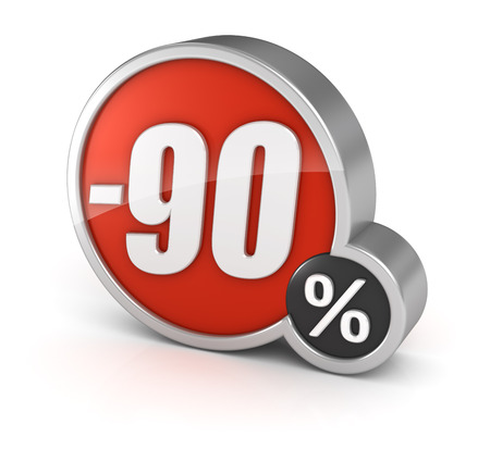 90% sale, 3d icon. Isolated on white background. Image with clipping path. photo
