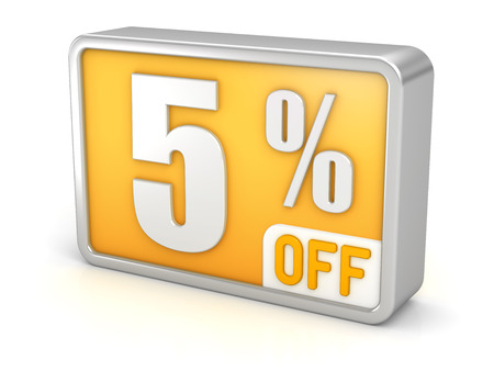 perks: 5% off five percent sale 3d discount icon. Stock Photo