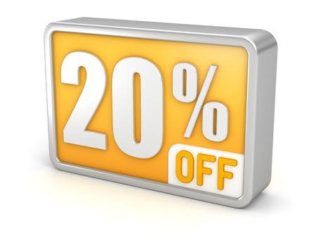 cut off: 20% off twenty percent sale 3d discount icon.