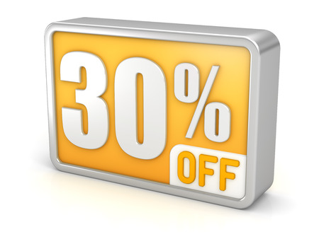 thirty percent off: 30% off thirty percent sale 3d discount icon.