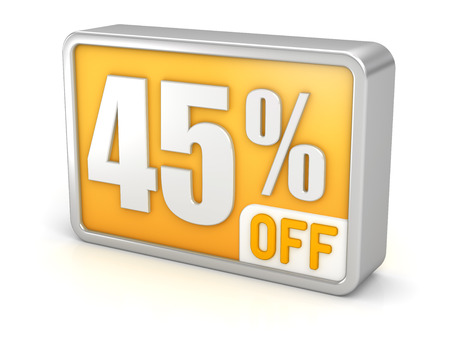 perks: 45% off forty-five percent sale 3d discount icon.  Stock Photo