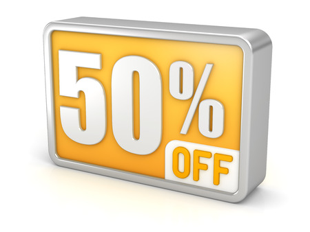 50% off fifty percent sale 3d discount icon.  photo