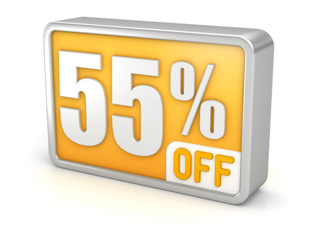 55% off fifty-five percent sale 3d discount icon.  photo
