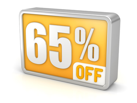 perks: 65% off, sixty-five percent sale 3d discount icon.