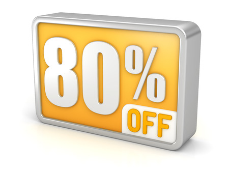 80: 80% off eighty percent sale 3d discount icon.