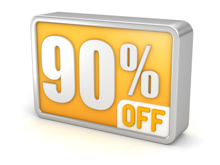 ninety: 90% off ninety percent sale 3d discount icon.