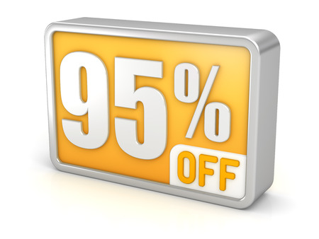 95% off ninety-five percent sale 3d discount icon. photo