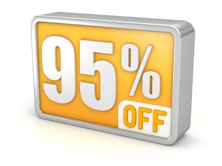 95: 95% off ninety-five percent sale 3d discount icon. Archivio Fotografico