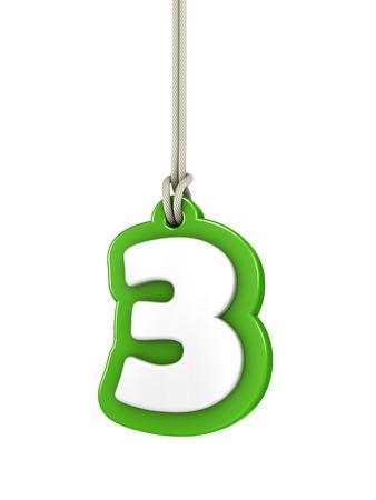 Verde número tres aislado en blanco Foto de archivo - 35259433