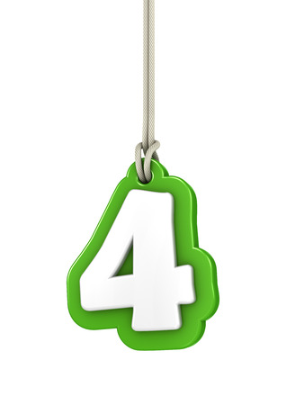 numeration: Green number four isolated on white  Stock Photo