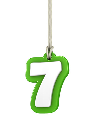 numeration: Green number seven isolated on white