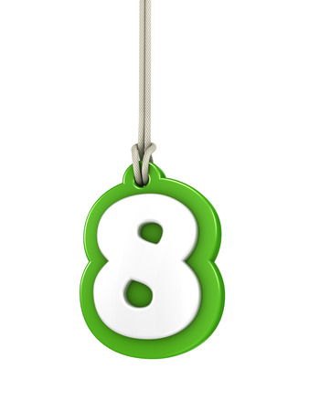 eighth: Green number eight isolated on white
