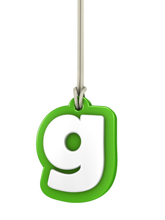 letter case: Green lowercase letter G hanging Stock Photo