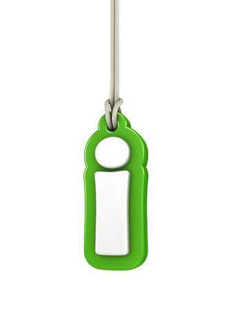 letter i: Green lowercase letter I hanging