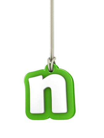 hanging out: Green lowercase letter N hanging