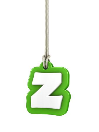 letter z: Green lowercase letter Z hanging Stock Photo