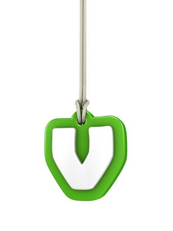 letter v: Green lowercase letter V hanging