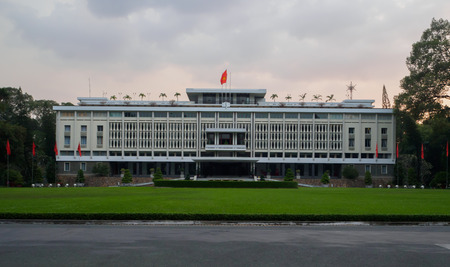 HO CHI MINH CITY, VIETNAM - NOV 03: Beautiful landscape of Independence Palace, green grass, ancient architecture, historic building, Nguyen Van Thieu is the last president of feudalism, Vietnam, Nov 03, 2017