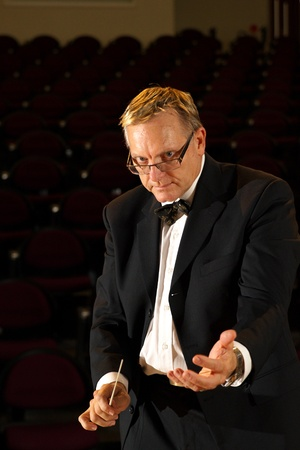 Male symphony conductor