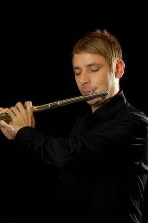 Male flutist Stock Photo