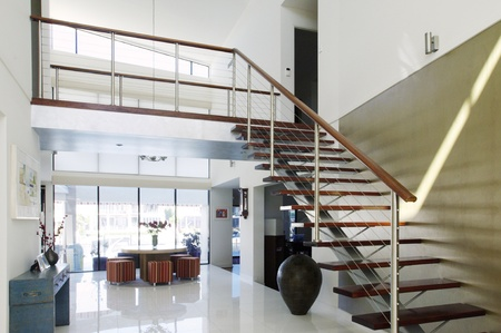 staircase and atrium of a modern luxury house photo
