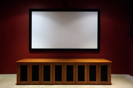 projection screen: Home theatre Stock Photo