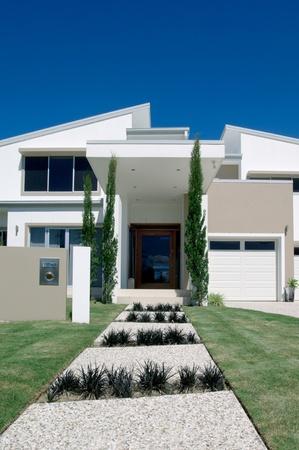 White luxury house with two storeys photo