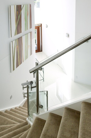 atrium: staircase and atrium of a modern luxury house