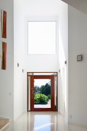 Entrance of a modern house with atrium