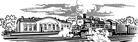 fumes: Locomotive engrawing picture  illustration