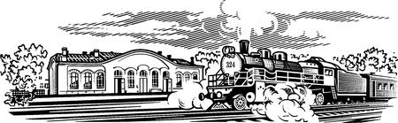 locomotora: Locomotora de imagen engrawing ilustración