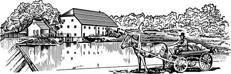 molino de agua: Miller engrawing ilustración foto Vectores