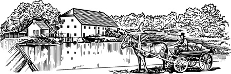 water mill: Miller engrawing picture  illustration