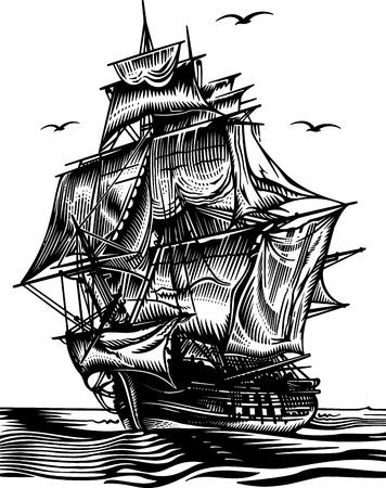 vecchia nave: Nave engrawing illustrazione immagine