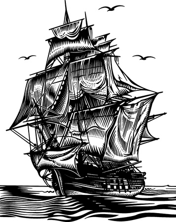 brigantine: Ship engrawing picture  illustration