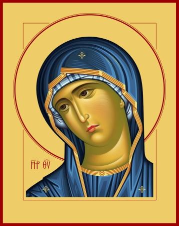 god bless: Virgin Oplechnaya_blue raster graphics  Raster illustration, digital art Stock Photo