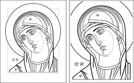 mother mary: Virgin Oplechnaya outline1-2 vector graphics  Vector illustration, digital art